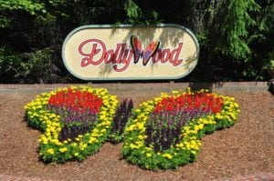 Butterfly flower arrangement at Dollywood entrance.
