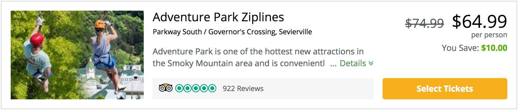 adventure park ziplines coupon