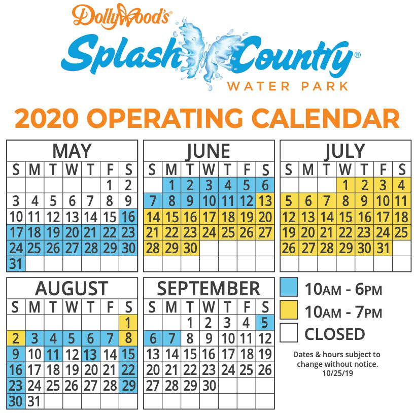 dollywood splash country waterpark hours 2020