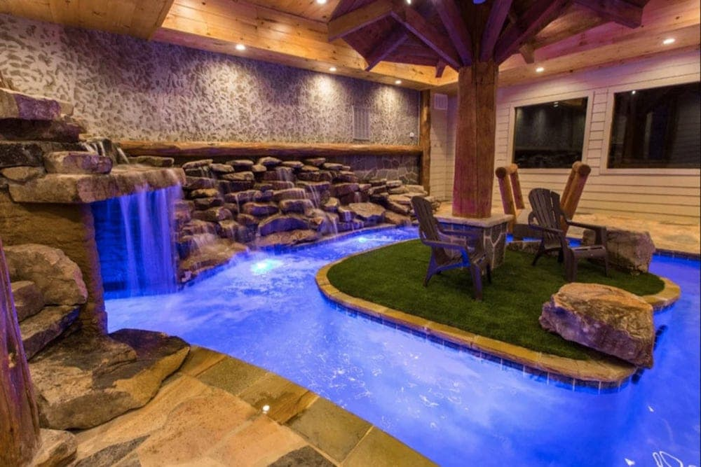 indoor pool in a pigeon forge cabin